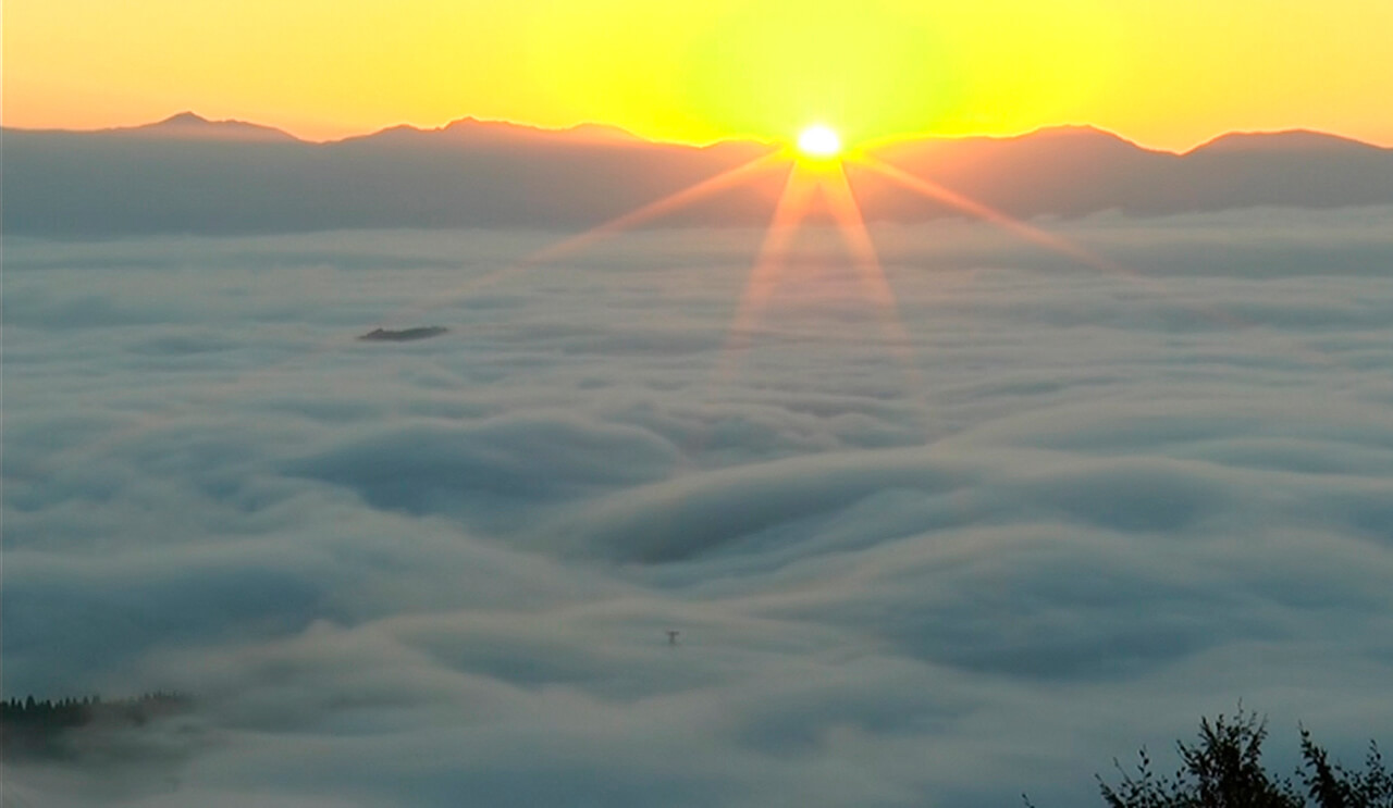 Sea of Clouds at the Mountain Peak of Yozotoge